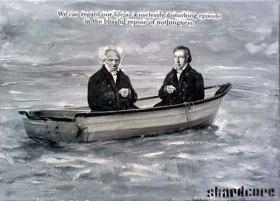 Schopenhauer (l) en Hegel (r) in hetzelfde schuitje.