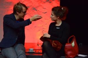 Maarten Boudry en ik rustig in gesprek...